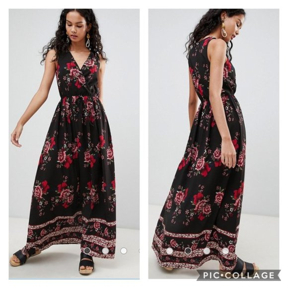 Parisian Floral Border Print V-Neck Maxi Dress NWT